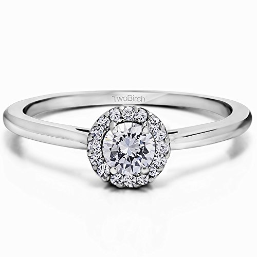 Silver Perfect Round Halo Promise Ring with Forever Brilliant Moissanite by Charles Colvard (0.23 ct. twt.)