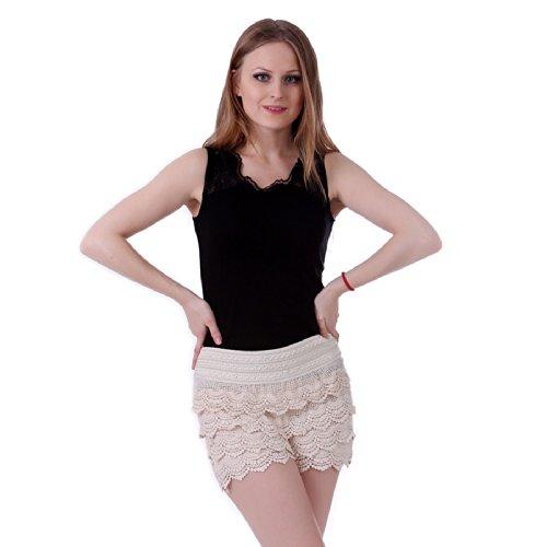 HDE Women's Fitted Scallop Hem Crochet Lace Mini Shorts