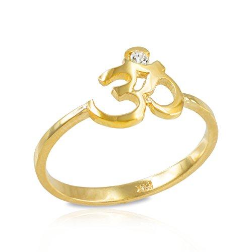 Women's 14k Yellow Gold Dainty Yoga Band Diamond Om Ring