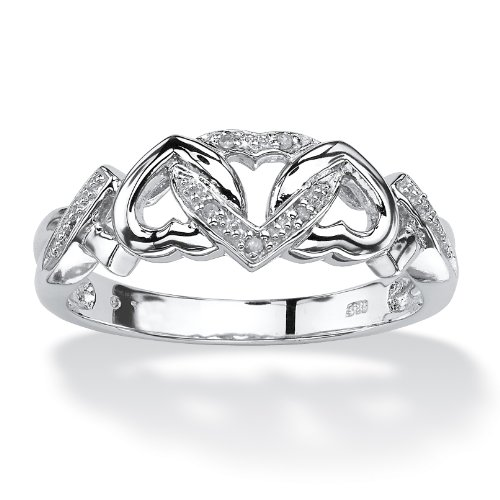 White Diamond Accent Platinum over .925 Silver Locking Hearts Ring