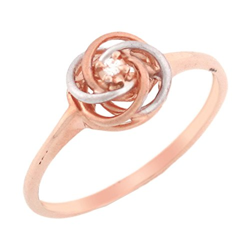 10k Solid Rose Gold Diamond Swirly Solitaire Promise Ring
