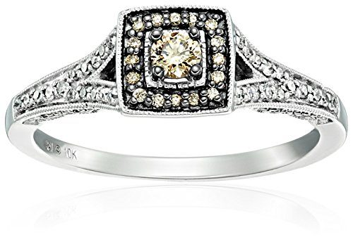 10k White Gold Champagne and White Diamond Promise Ring (1/3cttw), Size 7